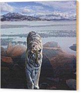 Tiger In A Lake Wood Print