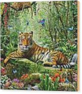 Tiger In The Jungle Wood Print
