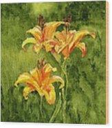 Tiger Lilies Wood Print