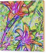 Tiger Lillies Wood Print
