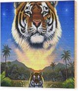 Tiger Of The Lake Wood Print