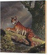 Tiger On A Log Wood Print by Daniel Eskridge