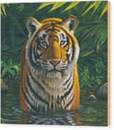 Tiger Pool Wood Print