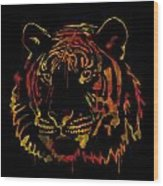 Tiger Watercolor - Black Wood Print