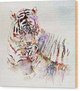 Tiger With Cub Watercolor Wood Print