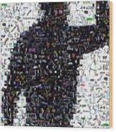 Tiger Woods Fist Pump Mosaic Wood Print