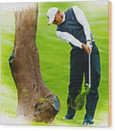 Tiger Woods Hits A Shot From The Rough Wood Print
