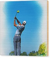 Tiger Woods Plays His Tee Shot On The 15th Hole Wood Print