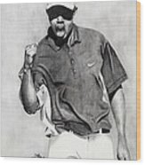 Tiger Woods Pumped Wood Print by Devin Millington