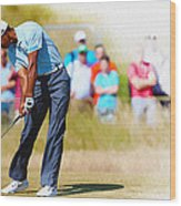 Tiger Woods - The British Open Golf Championship Wood Print