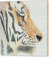 Tiger's Head Wood Print
