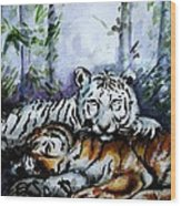 Tigers-mother And Child Wood Print