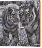 Tigers Photo Art 02 Wood Print