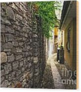 Tight Alley In Stone Wood Print