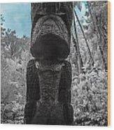 Tiki Man In Infrared Wood Print