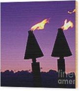 Tiki Torches Wood Print