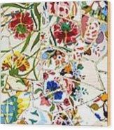 Tile Work In The Antoni Gaudi Park Barcelona Wood Print