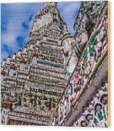 Tile Work On Wat Arun Bankok Wood Print