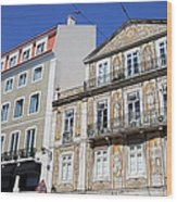Tiled Building In Chiado District Of Lisbon Wood Print