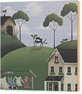 Till The Cows Come Home Wood Print by Catherine Holman