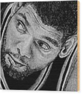 Tim Duncan Drawing The Champ Is Here Wood Print