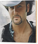 Tim McGraw Artwork Wood Print