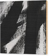 Timber- Vertical Abstract Black And White Painting Wood Print