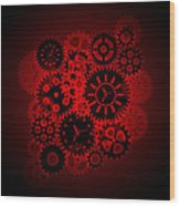 Time Clock Gears Clipart On Red Background Wood Print