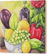 Time For Fruits And Vegetables Wood Print