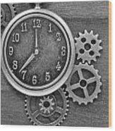 Time In Black And White Wood Print