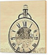 Time In The Sand In Sepia Wood Print