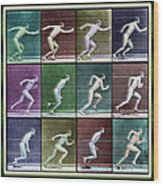 Time Lapse Motion Study Man Running Color Wood Print