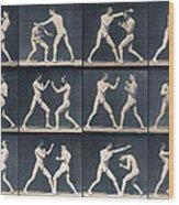 Time Lapse Motion Study Men Boxing Wood Print