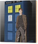 Time Lord And His Tardis Wood Print