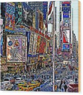 Time Square New York 20130430v2 Wood Print by Wingsdomain Art and Photography