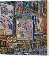 Time Square New York 20130430v3 Wood Print by Wingsdomain Art and Photography