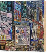 Time Square New York 20130503v9 Square Wood Print by Wingsdomain Art and Photography