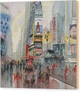 Time Square New York Wood Print