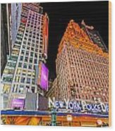 Time Square Wood Print