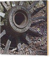 Time Worn Antique Wagon Wheel Wood Print