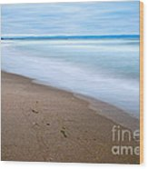 Time - Zmudowski State Beach In Monterey County Ocean Slow Waves. Wood Print