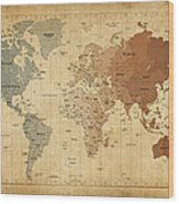 Time Zones Map Of The World Wood Print by Michael Tompsett