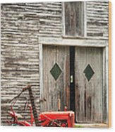 Red Tractor And Old Barn Ossipee New Hampshire Wood Print