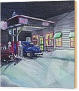 Times Past Gas Station Wood Print
