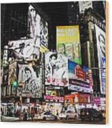Times Square At Night Wood Print