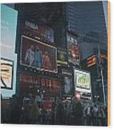 Times Square At Night Wood Print