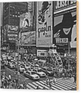 Times Square Bw Wood Print