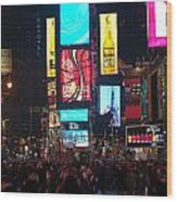 Times Square Crowds Wood Print
