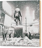 Times Square In The Snow - New York City Wood Print