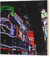 Times Square Lights Wood Print